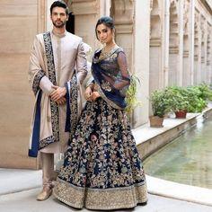 Memoirs Of A Maharani: Bespoke Coordinated Outfits By Shyamal & Bhumika Couple Wedding Dress, Wedding Dresses Men Indian, Wedding Outfits For Groom, Indian Bridal Outfits, Indian Fashion Dresses, Bridal Dresses, Indian Bridal Fashion, Punjabi Wedding, Indian Weddings