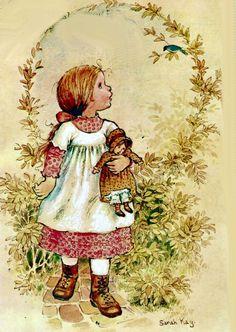 a sarah kay illustration Sarah Key, Holly Hobbie, Mary May, Vintage Drawing, Sweet Pic, Australian Artists, Cute Illustration, Vintage Children, Cute Kids