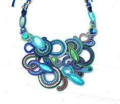 Haute couture déclaration collier Soutache collier collier brodé bleu Soutache