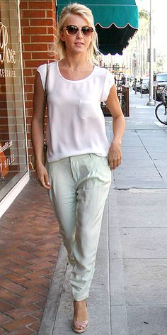 JULIANNE HOUGH. Silk white tee and sea glass-green Parker pants  with nude shoes as she does since adding chunky dark shoes is the quickest way to ruin an outfit like this (besides red wine and tomato sauce, that is).