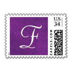 Purple Monogram F or Any Initial V004 Stamps