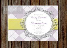 Plum and Yellow Lace Doily Argyle Baby Shower by MyInvitationBar