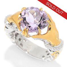 139-420 - Gems en Vogue 3.38ctw Heart-Cut Pink Amethyst Claddagh Ring