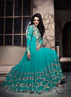 Turquoise wedd9ing wear Indian anarkali suit in georgette
