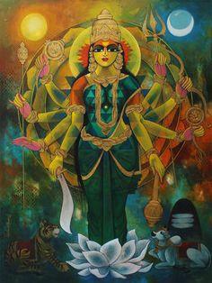 Shankery-19 Artwork Durga Painting, Lord Shiva Painting, Durga Images, Lord Krishna Images, Saraswati Goddess, Shiva Shakti, Indiana, Lord Ganesha Paintings, Hindu Deities