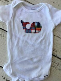 Baby Bodysuit with Madras Whale Applique, Baby Boy Preppy Bodysuit, Baby Shower Gift, Baby Gift, Madras, Baby Swimsuit, Madras Bodysuit