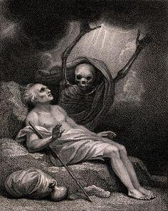 A blind man surprised by Death (17th century - Stipple engraving) ~ After Luigi Schiavonetti