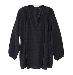 Mes Demoiselles Macleod Blouse in Black ~ Oversized Long Sleeve Blouse With Black on Black Geometric Jacquard Pattern
