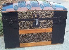 Antique Trunk c. with tin filigreed body, original black Japanning and leather handles Trunk Furniture, Furniture Fix, Furniture Makeover, Antique Furniture, Vintage Chest, Vintage Trunks, Antique Trunks, Old Trunks, Trunks And Chests