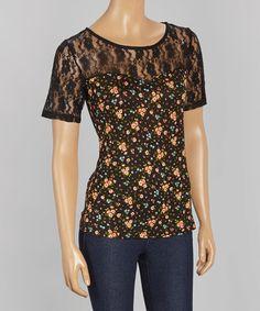 Look at this #zulilyfind! Black Floral Lace-Yoke Scoop Neck Top by B'leev #zulilyfinds
