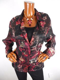 CHICO'S Sz 3 Womens Top L XL SILK Blouse Casual Shirt Red Light Wt Valentine #Chicos #Blouse #Casual