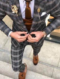 Available Size: Suit Material: viscose, polyester, elestan Machine Washable: No Fitting: Slim-Fit Cutting: Double Slits, Double Button Package Include: Suit Clothes: Jacket and Pants Plaid Suit, Suit Vest, Suit Fashion, Mens Fashion, Designer Suits For Men, Blazer Pattern, Glen Plaid, Formal Looks, Wedding Suits
