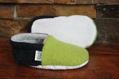 Navy/Green Baby Booties Upcycled Wool in Seahawks by SheepyShoes