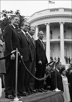 "Crew of Apollo 11 with President Nixon: Neil Armstrong, Mike Collins, and Edwin ""Buzz"" Aldrin"