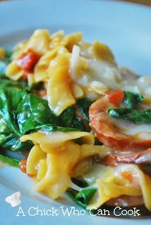 Creamy Sausage spinach pasta- this was soo good! Made a couple of changes based on what I had on hand: turkey sausage, chopped sweet peppers and mushrooms instead of onion. Definitely going to be a staple.