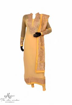 Exquisite gota work on lemon yellow suit with embroided dupatta