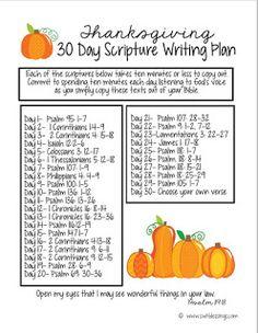 .: Thanksgiving 30 Day Scripture Writing Plan