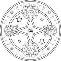 Mandala Navideño 1. Para imprimir, colorear, pintar.