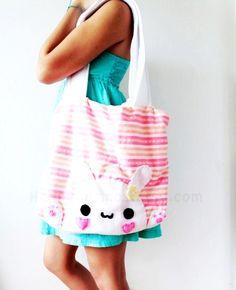 Bunny Tote Bag - Pink , Back to School , Cute , Kawaii