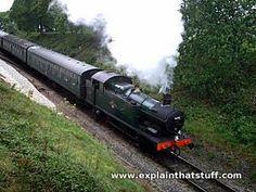 Restored steam locomotive engine in Swanage