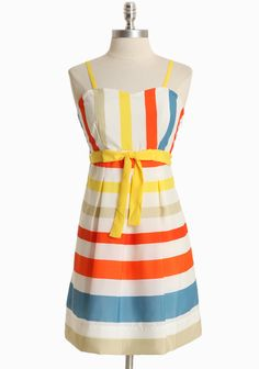"Coney Island Carnival Striped Dress 59.99 at shopruche.com. Colorful stripes exude fun and playful style on this silky white dress complemented with adjustable shoulder straps, an elasticized back, and an optional yellow sash. Hidden side zipper closure. Fully lined.100% Polyester, Imported, 33.5"" length from top of shoulders, 34"" bust, 29"" waist, All measurements taken from a size small"
