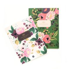Vintage Blossoms Notebooks - come in a set of two with  sixty-four unlined pages and metallic gold foil accents. The  notebooks feature lay-flat binding, a high quality binding process  that allows them to stay flat while you're writing or sketching.