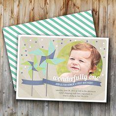 Pinwheel Invitation, Birthday, Photo, Boy, Printable, Blue and Green,