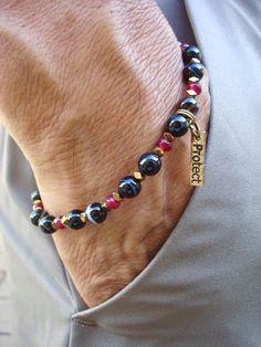 Men's Minimalist Fortune, Love, Protection Bracelet with Semi Precious Onyx, Red Garnet, Hematites, Protect Tag Charm, Boho Man Bracelet by tocijewelry on Etsy