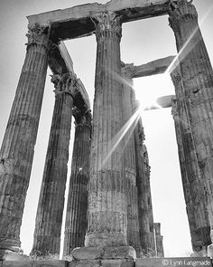 """Black and White Photography - architecture, Temple of Zeus in Athens Greece, ruins, home decor,  travel - """"When Giants Walked the Earth"""""""