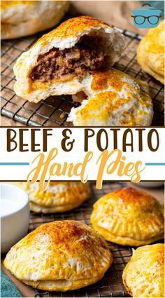 These Easy Beef and Potato Hand Pies are made with canned biscuits, ground beef, diced potatoes and seasonings. A family favorite recipe! Recipe Using Canned Biscuits, Biscuit Recipe, Ground Beef And Potatoes, Diced Potatoes, Meat Recipes, Cooking Recipes, Easy Meat Pie Recipe, Venison Recipes, Sausage Recipes