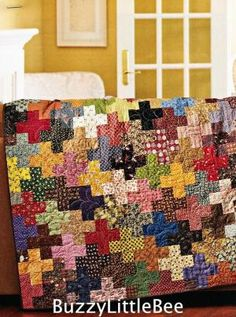 Quilt Pattern Charming Addition Plus Sign Block Scrappy No Two Alike | eBay by Marion Fagan