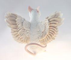RESERVED White Rat Mouse Winged figurine art sculpture pet, Rat angel, rat totem, amulet, fairy,. $55.00, via Etsy.