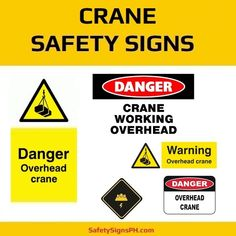Alert workers and prevent accidents with our customized crane safety signs. Construction Safety, Safety Posters, Crane, Cyber, Philippines, Signs, Shop Signs, Sign