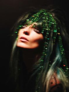 DARIA WERBOWY BY MERT & MARCUS FOR VOGUE UK MARCH 2014 green tinsel hair