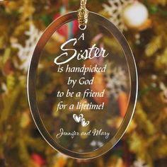 Personalized Sister Glass Ornament - Gifts Happen Here