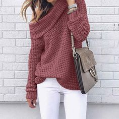 Price Description of Sweater Loose Fitting Turtleneck Casual solid Sweater Long Sleeve Autumn Winter Warm Sweater pull Femme hiver Pullovers If You search information for Sweaters, then Sweater Loo… Winter Sweater Outfits, Oversized Sweater Outfit, Spring Outfits, Oversized Sweaters, Winter Clothes, Cute Winter Sweaters, Loose Knit Sweaters, Knit Sweater Dress, Sweater Dresses
