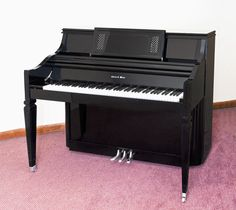Charles R Walter Console Model 1520 Italian Provincial Style Nickel-plated Hardware and Pedals Ebony Gloss Finish Bench included