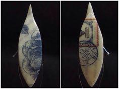 Blue letter (tatting shuttles) Decoupage