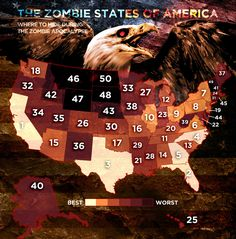 The Zombie States Of America: where to hide during the zombie apocalypse. Entertaining if only for the pictures of zombie lobsters, corn, and potatoes.