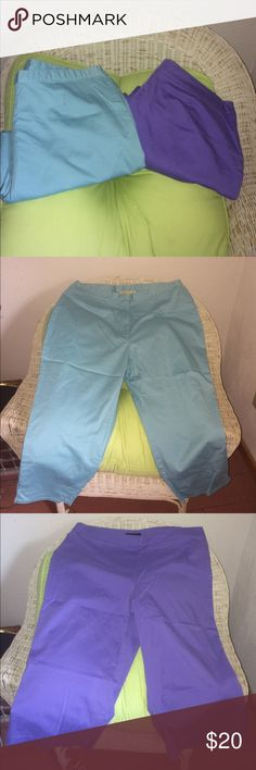 Selling this Aqua and Purple Cropped Pants 22W on Poshmark! My username is: chicstreet2. #shopmycloset #poshmark #fashion #shopping #style #forsale #Pants