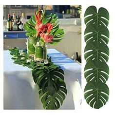 Tropical Hawaiian Green Leaves Luau Moana Party Table Decorations Bulk New Feature: brand new and high quality. inches Ideal for a Hawaiian luau, summer pool parties and jungle themed parties or events. Each leave measures 8 Hawaiian Party Decorations, Hawaiian Luau Party, Party Table Decorations, Caribbean Party Decorations, Hawaiian Centerpieces, Moana Centerpieces, Hawaiian Themed Parties, Wedding Decorations, Beach Party Decor