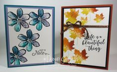Hi Stampers, Today we will be making  a beautiful card using the Colorful Seasons stamp set . Such a  beautiful background . This card I used the Cajun Craze refill #119790 Crushed Curry refill # 131158  Pumpkin Pie refill #  105229 Here is another card I  made using the same technique with Garden in Bloom …
