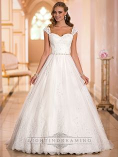 Straps Sweetheart Lace Princess Ball Gown Wedding Dresses - LightIndreaming