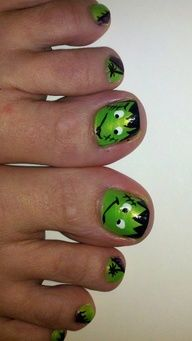 Halloween Frankenstein Toes - green, purple, spiders, stitches nail design