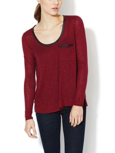 BELLA LUXX -Long Sleeve Pocket Tee with Leather Trim