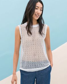 Image 1 of COMBINED GUIPURE TOP from Zara
