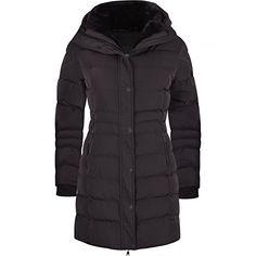 930fdab999d Women s Designer Winter Lined Parka Quilted Coat Fur Collar Hooded Long  Ladies Womens Jacket UK 14