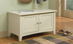 The Shaker Cottage Storage Cabinet / Bench features two storage areas. It's a great accent piece in any setting and is perfect in a mudroom / entry.