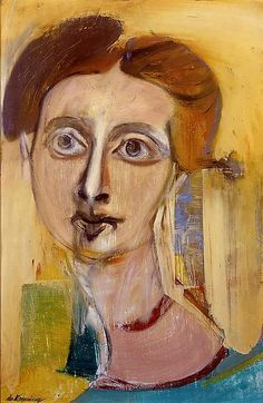 Willem de Kooning Foundation | Woman (Portrait of Elaine), c. 1942 oil on board, 21 x 14 inches