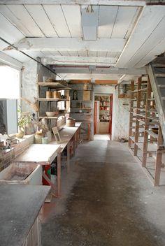 : : artist studio : : Leach Pottery, Bernard Leach and Shoji Hamada, St Ives, Cornwall. Clay Studio, Ceramic Studio, Home Studio, Studio Spaces, Pottery Workshop, Pottery Studio, Pottery Clay, Slab Pottery, Atelier Photo